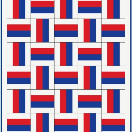Red White and Blue Basket Weave Quilt